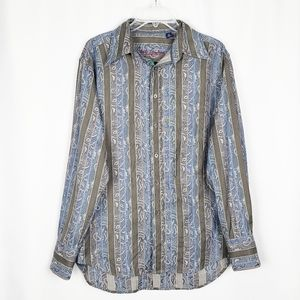 ROBERT GRAHAM paisley stripe button up shirt